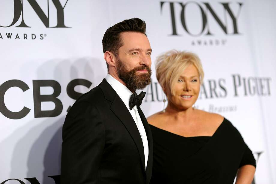 Host Hugh Jackman (L) and Deborra-Lee Furness attend the 68th Annual Tony Awards at Radio City Music Hall on June 8, 2014 in New York City. Photo: Dimitrios Kambouris, (Credit Too Long, See Caption)