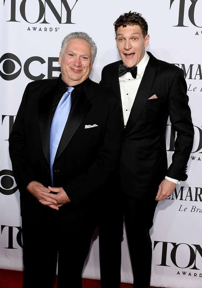 Playwright Harvey Fierstein (L) and Gabriel Ebert attend the 68th Annual Tony Awards at Radio City Music Hall on June 8, 2014 in New York City. Photo: Dimitrios Kambouris, (Credit Too Long, See Caption)