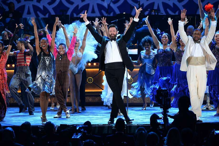 """Actor Hugh Jackman (C) and the cast of """"After Midnight"""" perform onstage during the 68th Annual Tony Awards at Radio City Music Hall on June 8, 2014 in New York City. Photo: Theo Wargo, (Credit Too Long, See Caption)"""