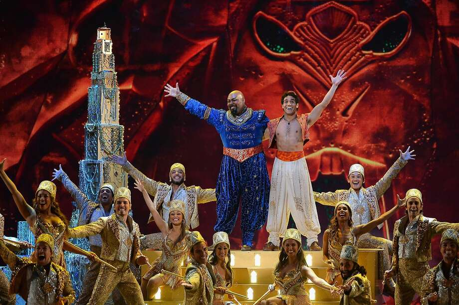 "Actors James Monroe Iglehart (L) and Adam Jacobs perform scenes from ""Aladdin"" onstage during the 68th Annual Tony Awards at Radio City Music Hall on June 8, 2014 in New York City. Photo: Theo Wargo, (Credit Too Long, See Caption)"