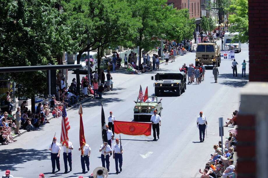 The color guard of the Marine Corps League, Troy, N.Y. Detachment marches along Fourth St. in  the 47th Annual Troy Flag Day Parade on Sunday, June 8, 2014, in Troy, N.Y.   (Paul Buckowski / Times Union) Photo: Paul Buckowski / 00027162A
