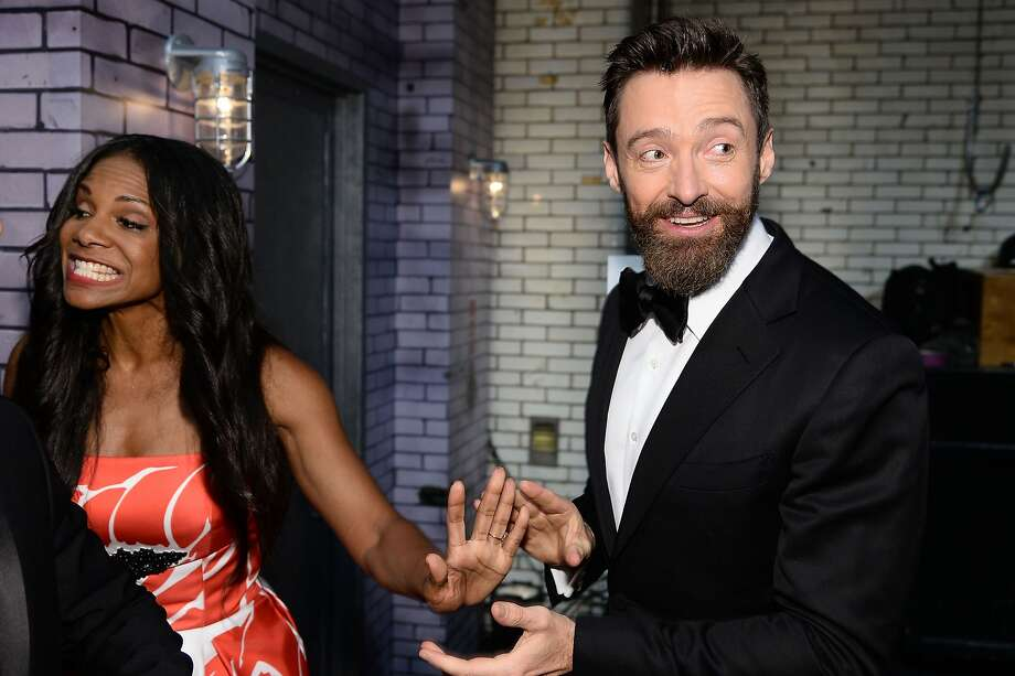 Actors Audra McDonald (L) and Hugh Jackman attend the 68th Annual Tony Awards at Radio City Music Hall on June 8, 2014 in New York City. Photo: Dimitrios Kambouris, (Credit Too Long, See Caption)