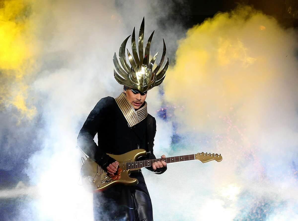 NEW YORK, NY - JUNE 08: Musician Luke Steele of Empire of the Sun performs during the 2014 Governors Ball Music Festival at Randall's Island on June 8, 2014 in New York City. (Photo by Paul Zimmerman/Getty Images)