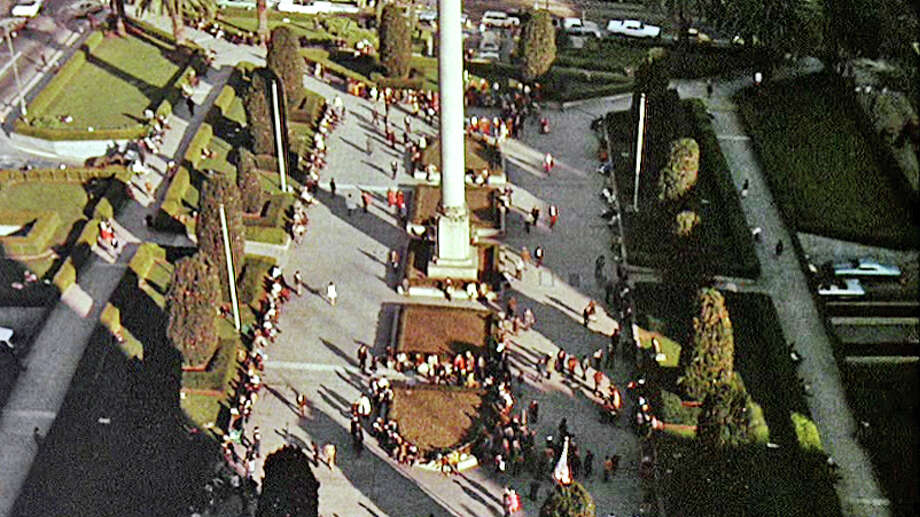 "Union Square    Used for the opening scene of Francis Ford Coppola's ""The Conversation"" (pictured), which also shot around the Embarcadero and at Alta Plaza Park. Photo: Courtesy, American Zeotrope / ONLINE_CHECK"