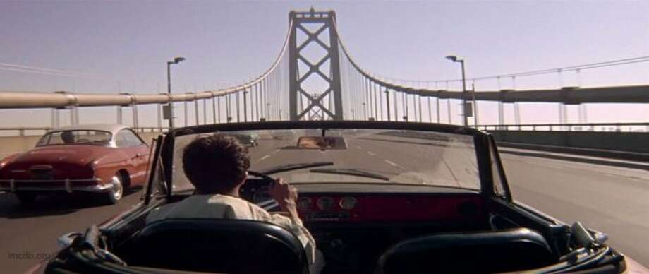 "The Bay BridgeThe bridge is best known for Dustin Hoffman driving the wrong way in ""The Graduate"" (he was heading to Berkeley on the westbound-only upper deck). The bridge was also seen in ""Shadow of the Thin Man"" and others, and scaled by Brendan Fraser in ""George of the Jungle."" Photo: Courtesy, MGM"