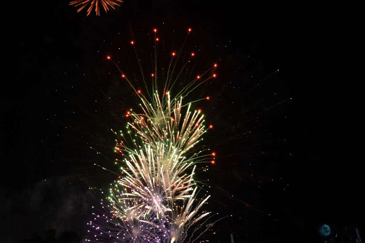 A fireworks display concludes the Fourth of July celebration in Missouri City.