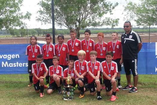The Lions 03 Boys Red soccer team recently qualified for the national finals Aug. 4-6, 2014, in Portland, Oregon. Shown, back row, left to right, are Dominic Rosales, Jevon Renaker, John-Anthony Coronado, Tristan Figueras, Alan Howitt, Dalin Burris, Iseah Hernandez and Coach Juan Coronado; front row, left to right, are Shai Charles, Luke Breu, Cade Marler, Kassen Dilworth, Nathan Boyles and Timothy Vazquez. Photo: Courtesy