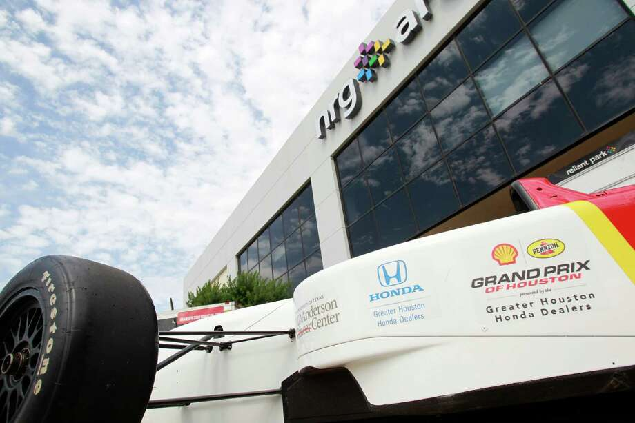 A replica IndyCar is displayed during a Grand Prix of Houston media event at NRG Park Monday, June 9, 2014, in Houston. Photo: Melissa Phillip, Houston Chronicle / © 2014  Houston Chronicle