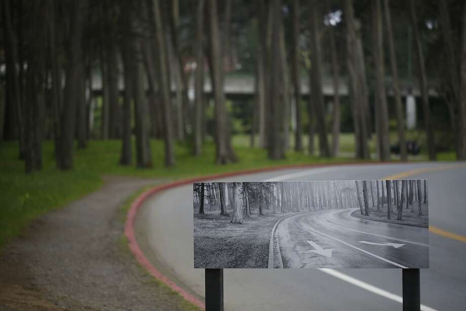 """The image """"Park Boulevard"""" is mounted in the same location Lyle Gomes made the image more than 20 years ago. Photo: Mike Kepka, The Chronicle"""