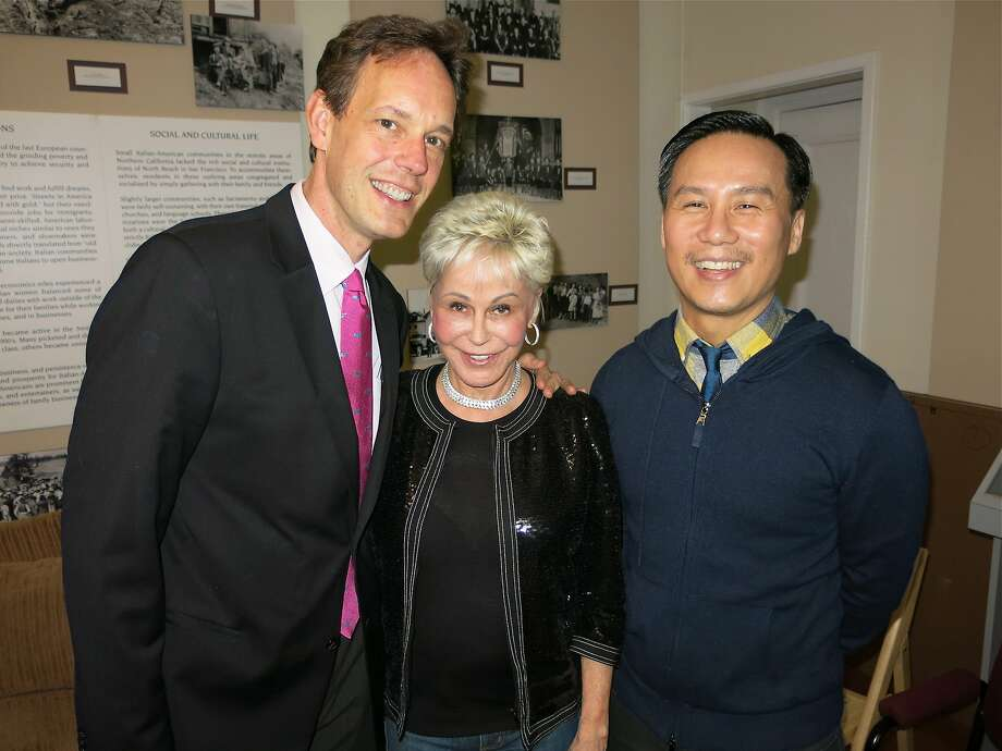 "Composer Jake Heggie (left) with ""Beach Blanket Babylon"" producer Jo Schuman Silver and actor BD Wong at the competition that awarded scholarships to three teens. Photo: Catherine Bigelow, Special To The Chronicle"