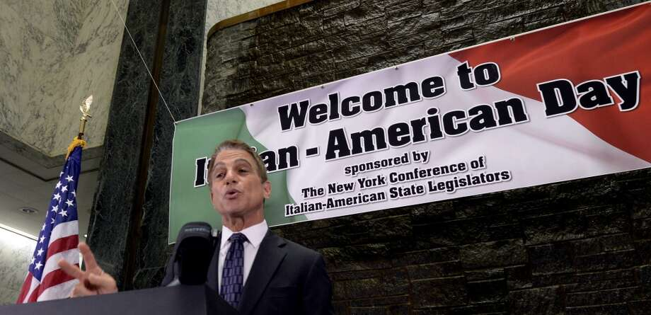 Actor Tony Danza gives his acceptance speech in the well of the Legislative Office Building Monday morning June 9, 2014 after he received his honorarium from the Conference of Italian-American State Legislators in Albany, N.Y.      (Skip Dickstein / Times Union) Photo: SKIP DICKSTEIN, ALBANY TIMES UNION