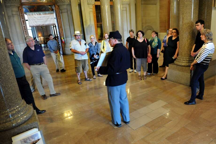 Education coordinator Stuart Lehman, center, leads a Civil War tour on Thursday, June 5, 2014, at the Capitol in Albany, N.Y. (Cindy Schultz / Times Union) Photo: Cindy Schultz, Albany Times Union