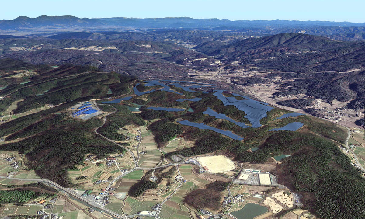 GE Energy Financial Services, a unit of Fairfield-based General Electric, has invested in Kumenan, a 32-megawatt solar photovoltaic power project in Japan. Shown is a 3D rendering of how the facility is expected to appear.