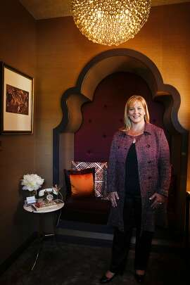 Kristi Will of Kristi Will Home + Design stands in The Powder Room and Lounge on Monday, April 28, 2014 which she designed for the San Francisco Decorator Showcase in San Francisco, Calif.