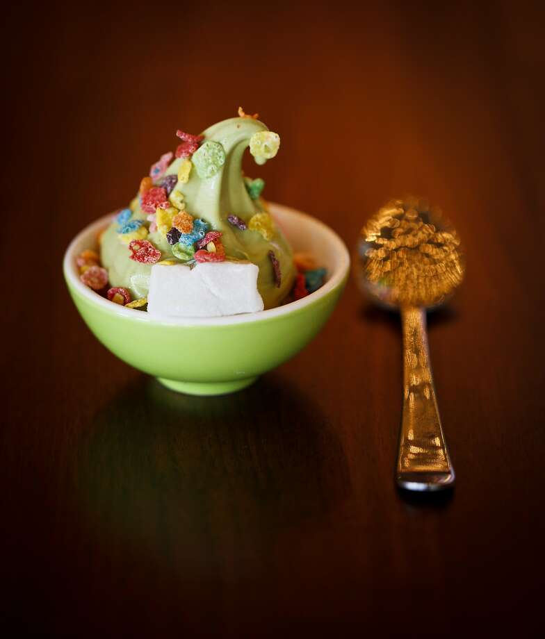 A bowl of Chino's matcha soft serve, Straus Family cream, Fruity Pebbles, and mochi, is seen on Wednesday, June 4, 2014 in San Francisco, Calif. Photo: Russell Yip, The Chronicle