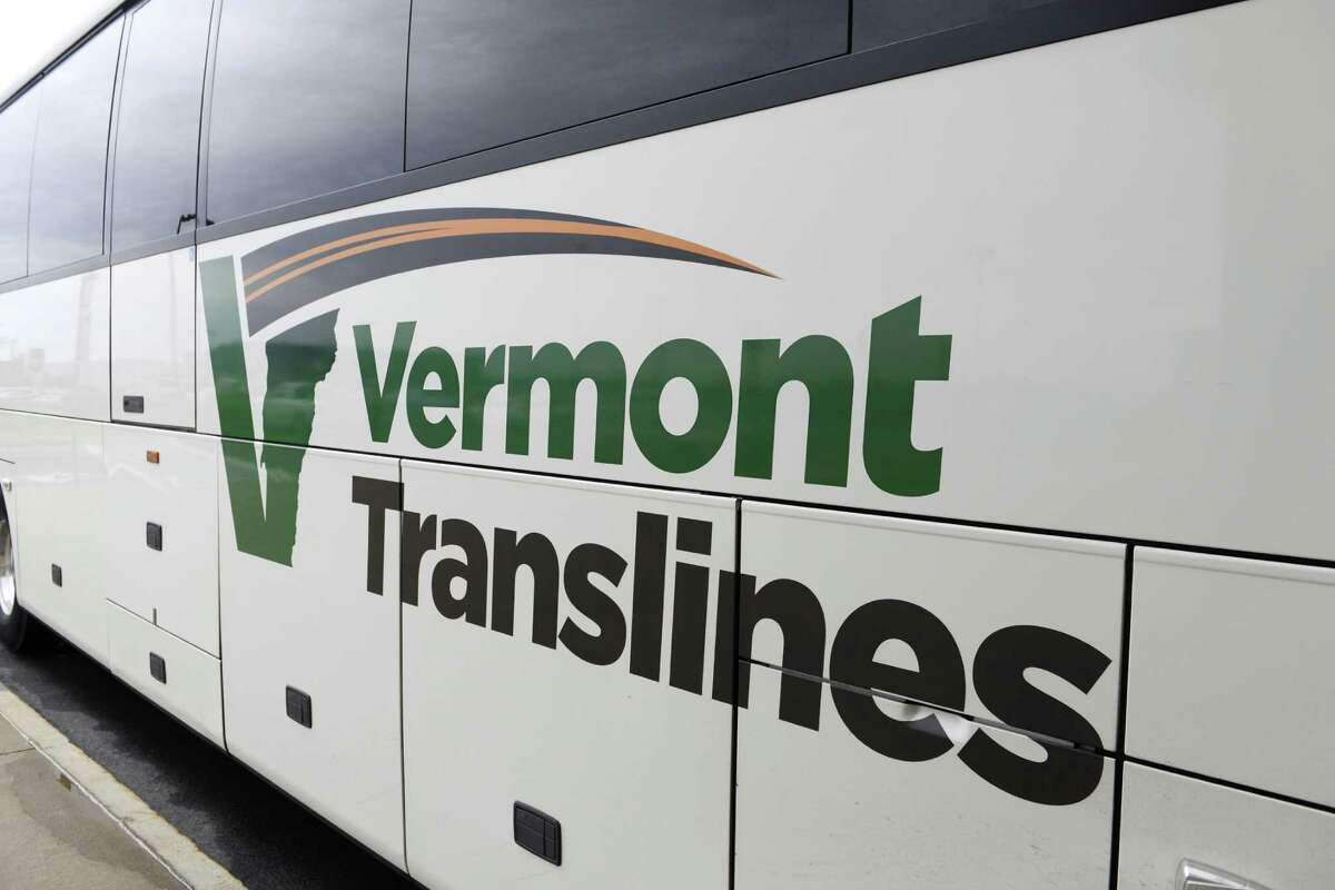 Exterior of a Vermont Translines, arrives by bus at Albany International Airport Monday afternoon, June 9, 2014, in Colonie, N.Y. Service finally resumed July 19, 2021 after being suspended in 2020 due to the pandemic. (Will Waldron/Times Union)