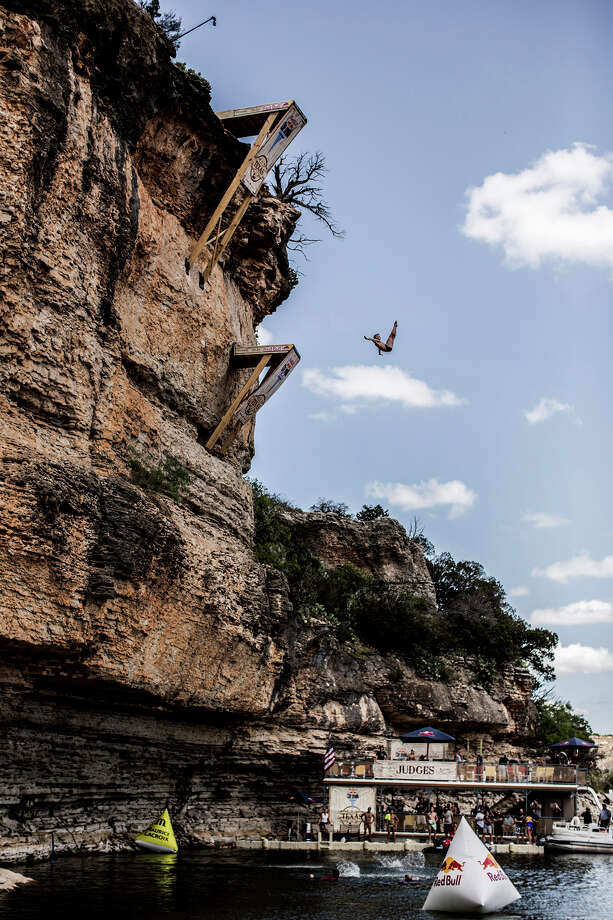 Artem Silchenko of Russia dives from the 28-meter platform at Hells Gate during the second stop of the Red Bull Cliff Diving World Series on June 7, 2014 in Possum Kingdom Lake, Texas. Photo: Handout, Red Bull Via Getty Images / 2014 Red Bull