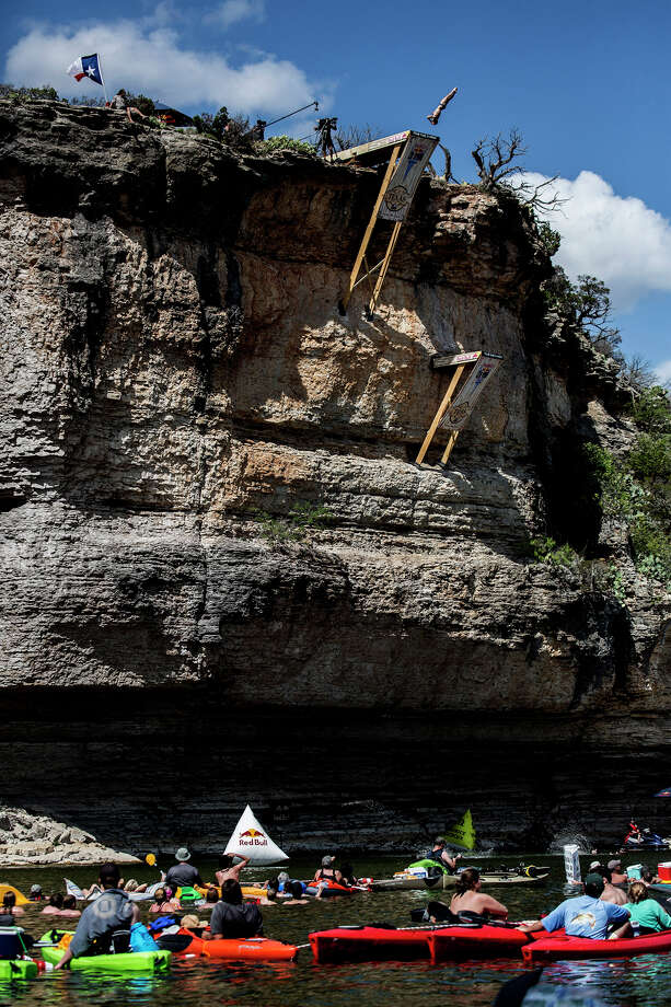 Steven LoBue of the USA dives from the 28-meter platform at Hells Gate during the second stop of the Red Bull Cliff Diving World Series on June 7, 2014 in Possum Kingdom Lake, Texas. Photo: Handout, Red Bull Via Getty Images / 2014 Red Bull