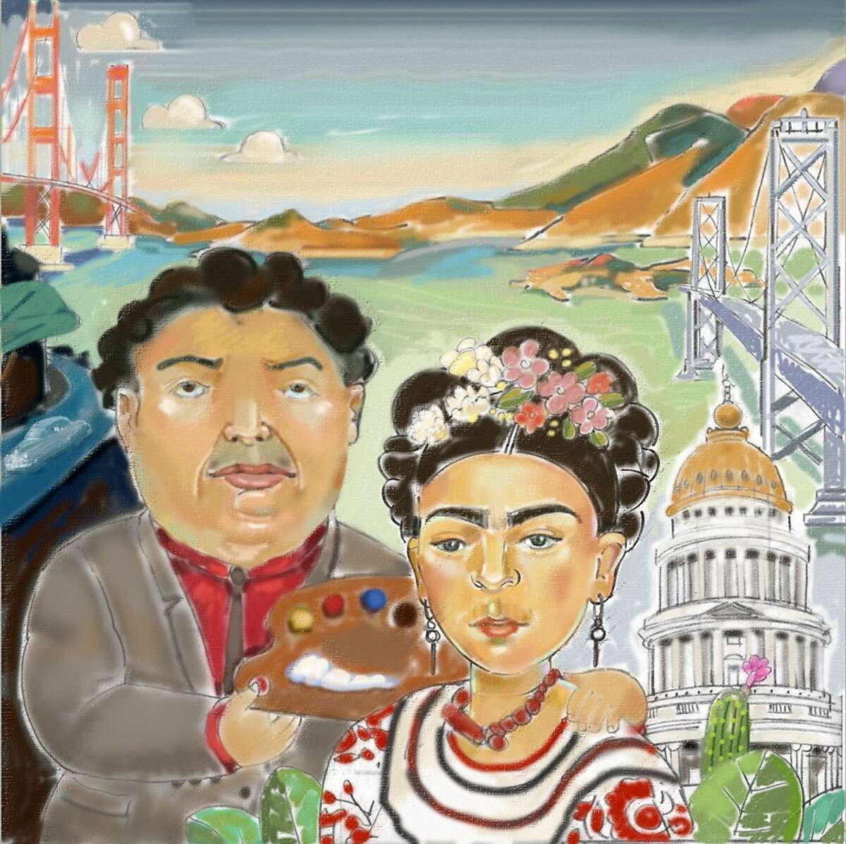 ITALIAN STREET PAINTING MARIN RETURNS WITH NEW THEMED POP-UP GALLERY: CALIFORNIA IN THE 1940's Sara Mordecai that is going to be recreated for this year's event, and it has ties to San Francisco - draft is attached. The theme for this year is California in the 1940's. Sara will created a street painting that commemorates the re-marriage of Frida Kahlo and Diego Rivera at San Francisco City Hall in 1940, and features many San Francisco landmarks. In 1940, Diego Rivera came to San Francisco to paint a large mural for the Golden Gate International Exposition on Treasure Island. While in San Francisco, Frida Kahlo and Diego Rivera re-married. Interesting enough, the mural Diego Rivera painted is now at City College. A vibrant visual history of the decade will adorn the streets of San Rafael - Saturday and Sunday, June 28 & 29 When: June 28 and 29 (Saturday, 10am - 9pm; Sunday, 10am - 6pm) Where: A Street (between 4th and 5th) in downtown San Rafael, CA. What: Italian Street Painting Marin (ISPM) returns to San Rafael with their. Following the success of the return of Italian Street Painting Marin in 2013 after a two-year hiatus, the decision was made to hold the signature ISPM event every other year, and in the alternating years to hold the more intimate Pop-Up Gallery event. This year's Pop-Up Gallery will feature Madonnari exclusively from California (and one from Hawaii) creating 22 images, each in a 12'x12' square. These paintings will run the length of A Street, between 4th and 5th in front of the iconic Mission San Rafael Arcangel.