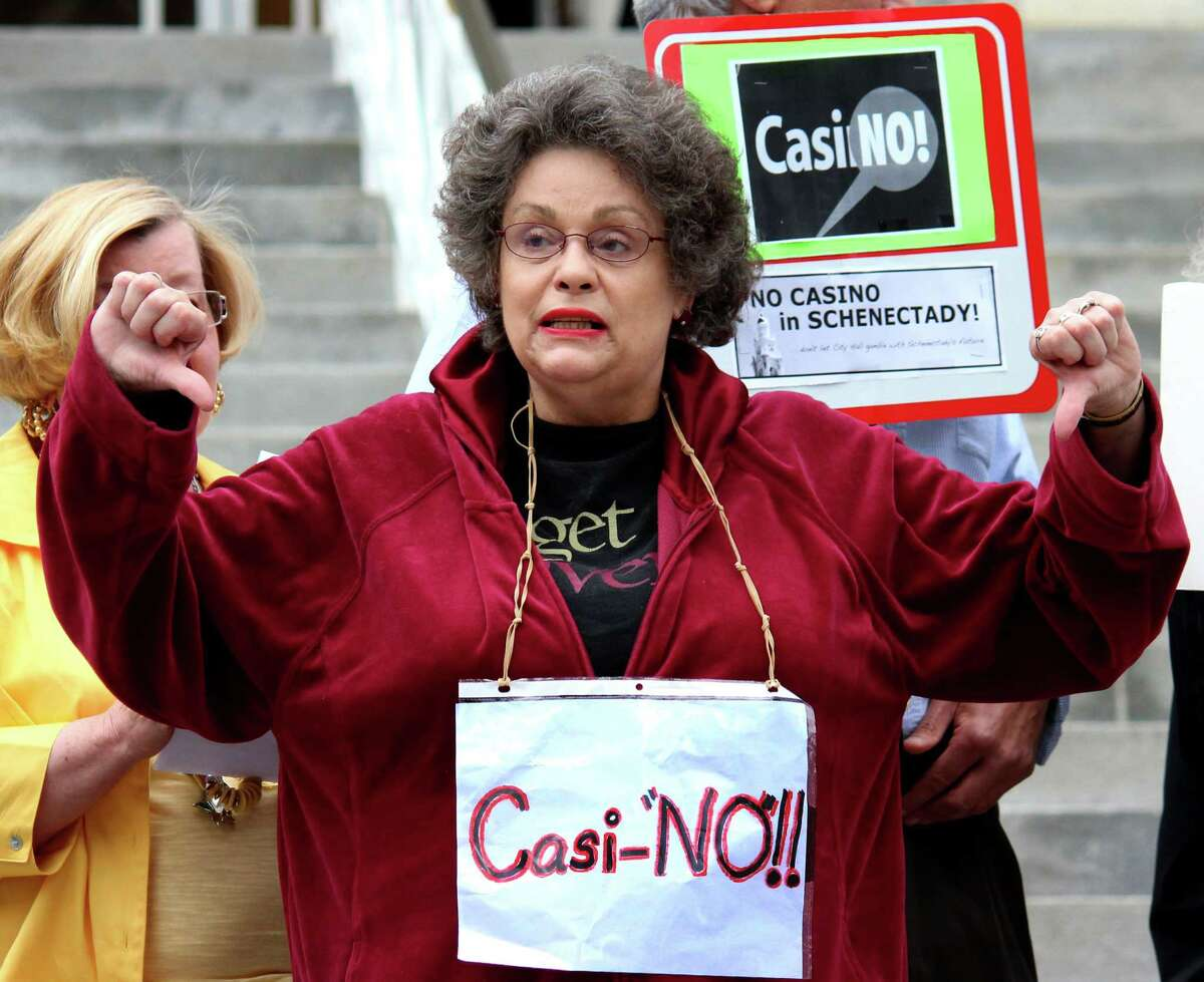 Marion Goodrich expressed her concerns over plans to build a proposed Schenectady casino during a demonstration Monday evening, June 9, 2014, outside City Hall prior to a meeting of the Schenectady City Council in Schenectady, N.Y. Members of the public were given an opportunity to address their concerns to Council members prior to a voting on whether to support the Erie Blvd. casino plan. (Selby Smith / Special to the Times Union)
