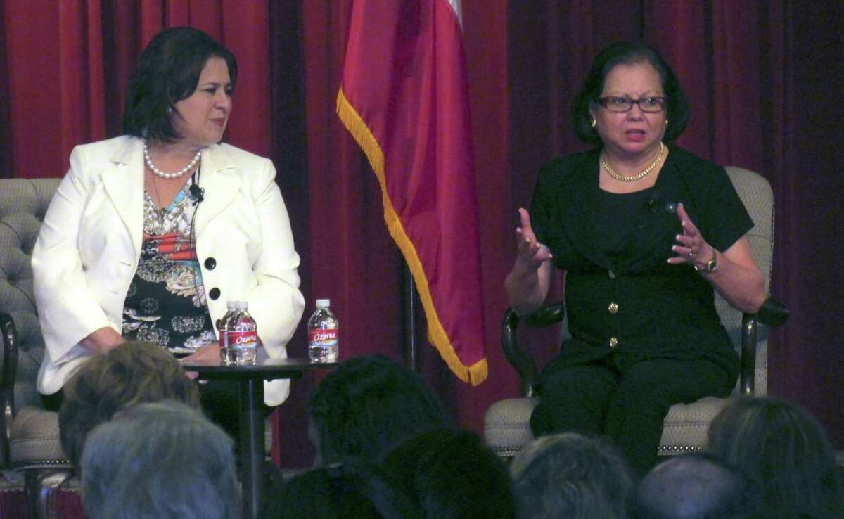 """Sen. Leticia Van de Putte (left) and Texas Workforce Commissioner Esperanza """"Hope"""" Andrade seek to recruit and increase the numbers of elected Latinas."""