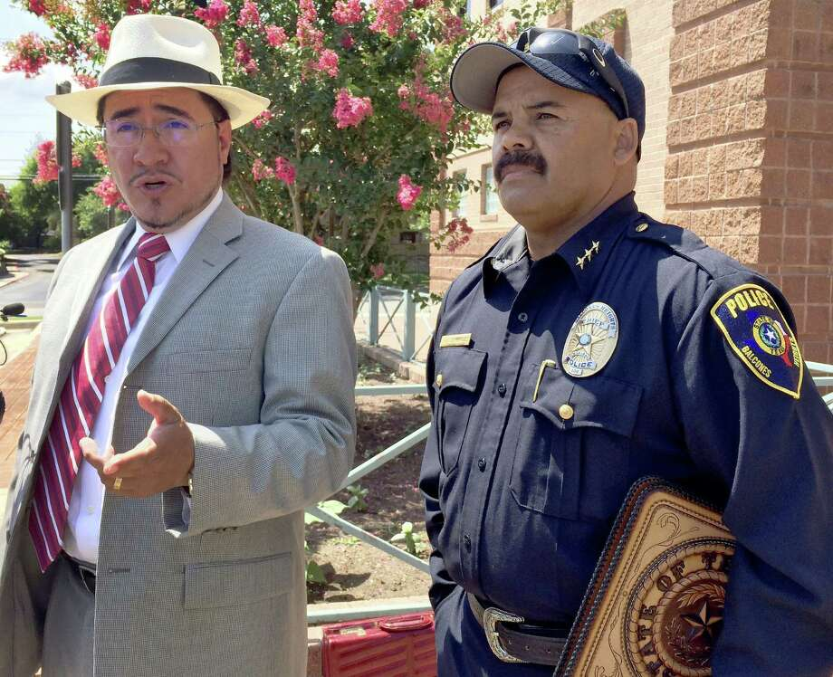 Balcones Heights Police Chief Henry Dominguez's attorney, Mark Anthony Sanchez, didn't reveal what the complaint against his client is about, but says he should be reinstated. Photo: Drew Joseph / San Antonio Express-News / © 2014 San Antonio Express-News