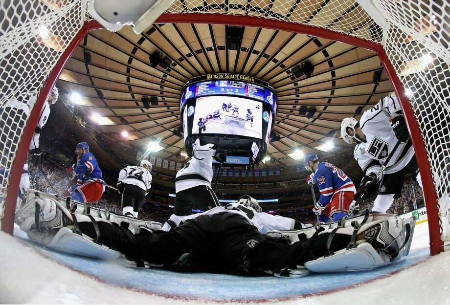 NEW YORK, NY - JUNE 09:  Jonathan Quick #32 of the Los Angeles Kings makes a save during the second period of Game Three of the 2014 NHL Stanley Cup Final at Madison Square Garden on June 9, 2014 in New York, New York.  (Photo by Bruce Bennett/Getty Images) ORG XMIT: 495643199 Photo: Bruce Bennett / 2014 Getty Images