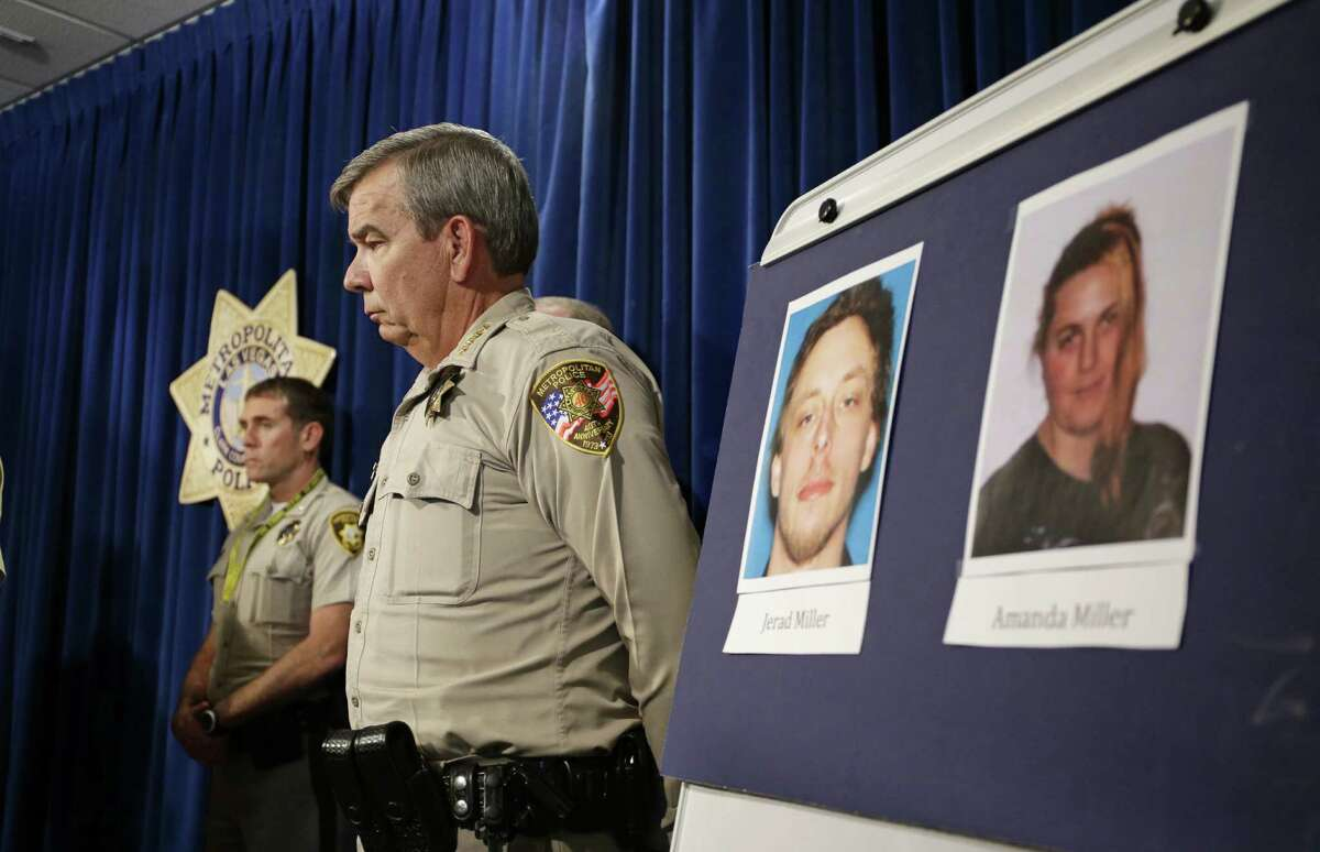 Las Vegas Sheriff Doug Gillespie, with photos of police slaying suspects Jerad Miller and Amanda Miller, commended a patron who died confronting the couple.