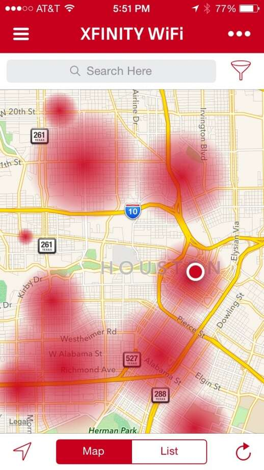 Comcast's Xfinity Wi-Fi app for iOS and Android devices has a map that shows the location of business-related hotspots. The hotspots generated by residential routers don't show up here. Photo: Houston Chronicle