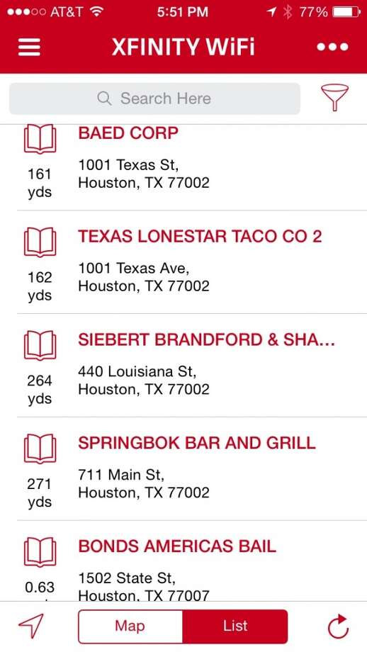 The apps can also show the hotspots in list form. Again, residential hotspots don't appear here. Photo: Houston Chronicle
