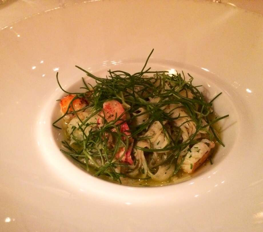 Acquerello: Cuttlefish cut like noodles, with lobster, cakers,  a touch of chile flakes and a generous sprinkling of agretti.