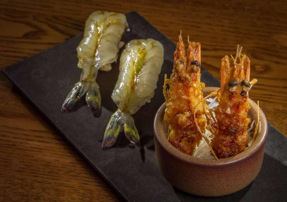 Akiko's: Madagascar blue shrimp  with fried heads. Photo: John Storey, Special To The Chronicle