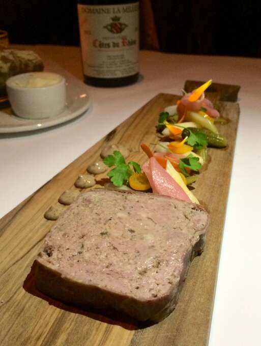 Angele, Napa: Country pate with house-pickled vegetables, mustard and bread.