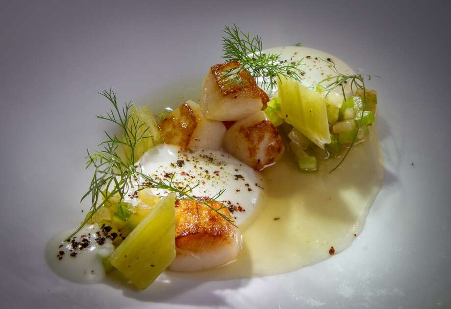 AQ:  Smoked chowder with bay scallops and cardoons. Photo: John Storey