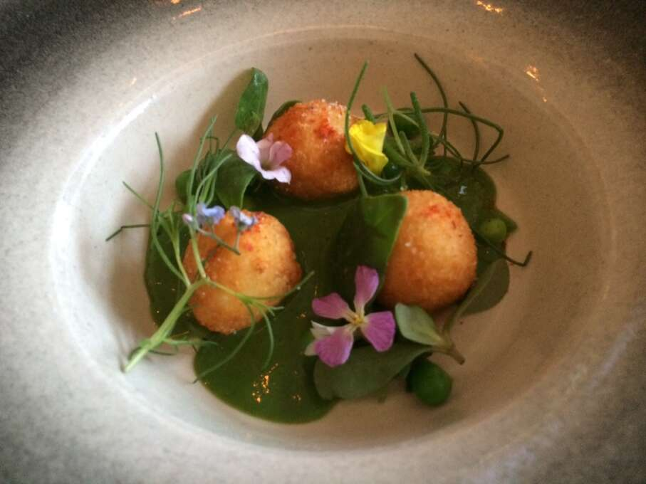 Commonwealth: Brandade with coastal succulents, Meyer lemon, wild flowers and chilled pea soup.