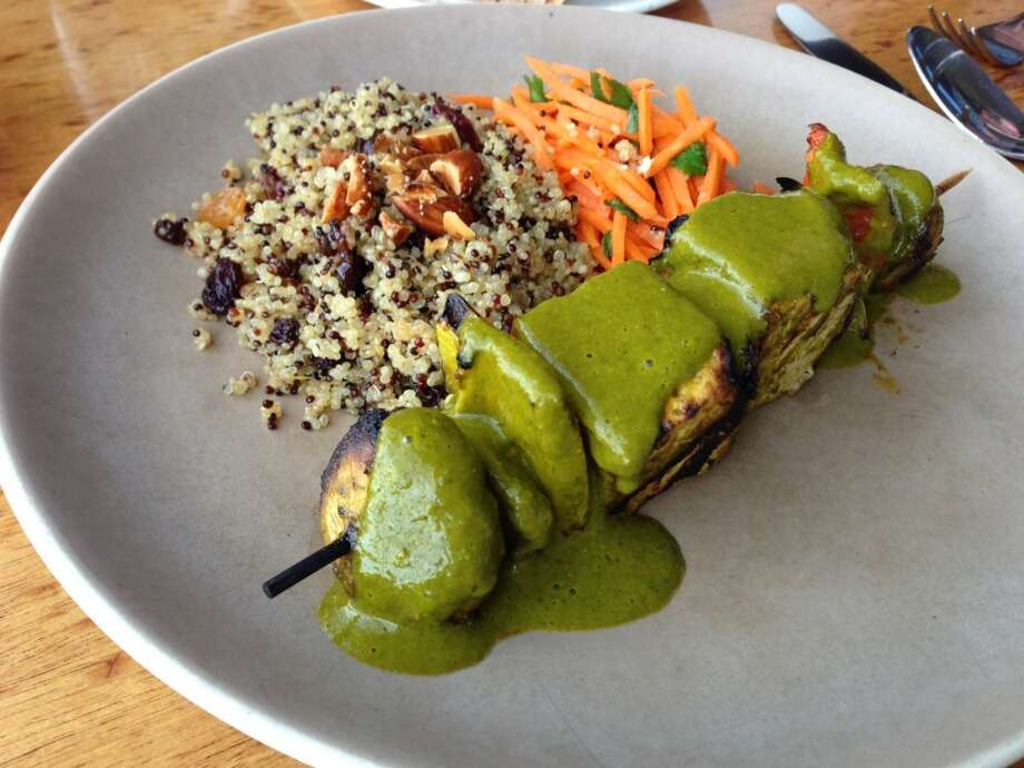 Greens: Grilled tofu brochettes, Accompaniments change but the dish has been on the menu for decades.