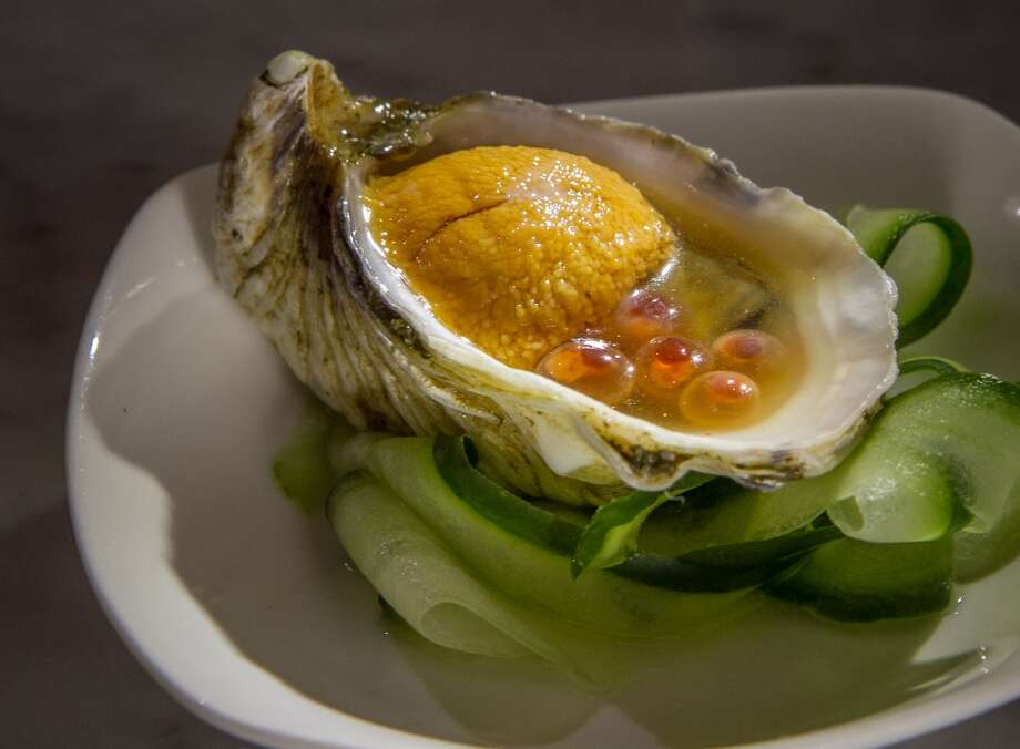 Hopscotch, Oakland:  Yonsei oyster with sea urchin, salmon roe and citrus soy. Photo: John Storey, Special To The Chronicle