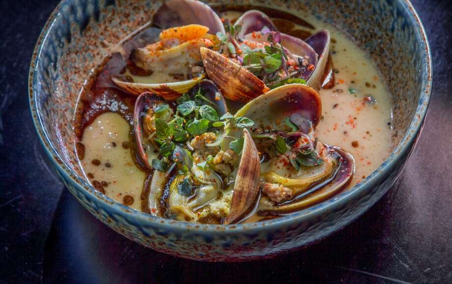 Ichi Sushi: Asari clams with ground pork and kuro oil. Photo: John Storey, Special To The Chronicle