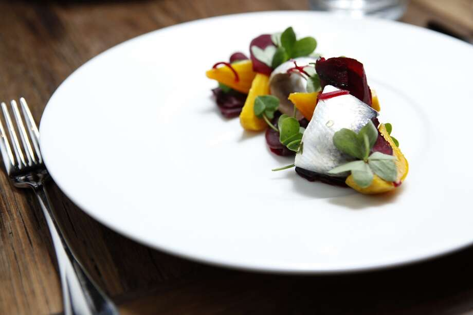Nico:  Herring with beets, whole-grain mustard, and wood sorrel. Photo: Michael Short, The Chronicle