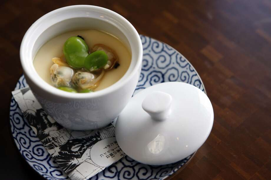 Nojo: Chawanmushi, a Japanese custard with  salty, smoky dashi broth and topped with Manila clams and green garlic. The toppings change — they could be crab with shiitake mushrooms or chicken with mushrooms and Japanese wild parsley Photo: Thomas Levinson, The Chronicle