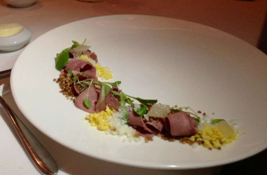 One Market: Lamb's tongue with lambs lettuce, Asian pear and sieved egg.