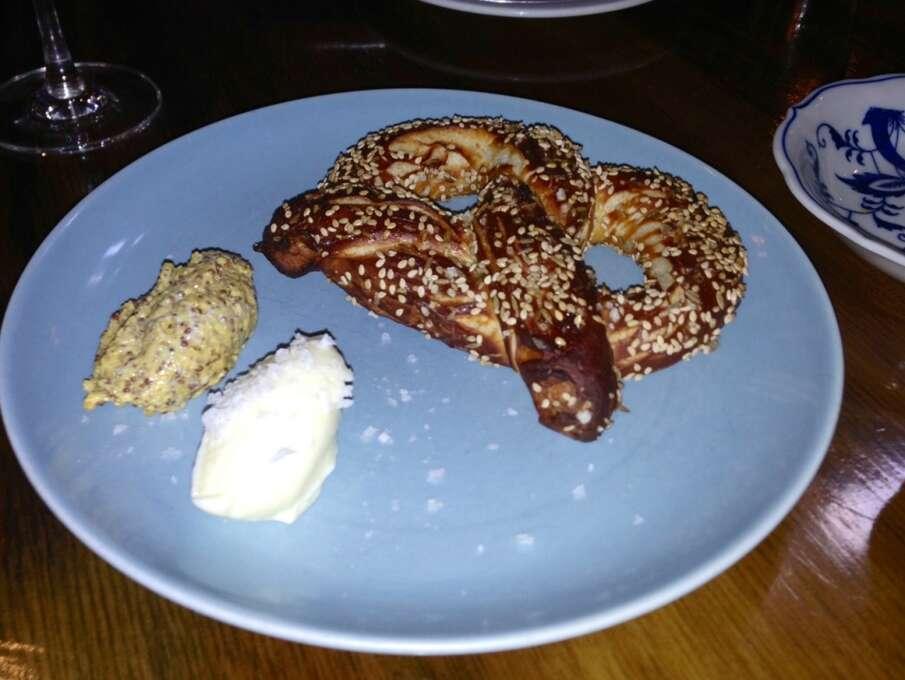 St. Vincent: Warm pretzel with mustard.