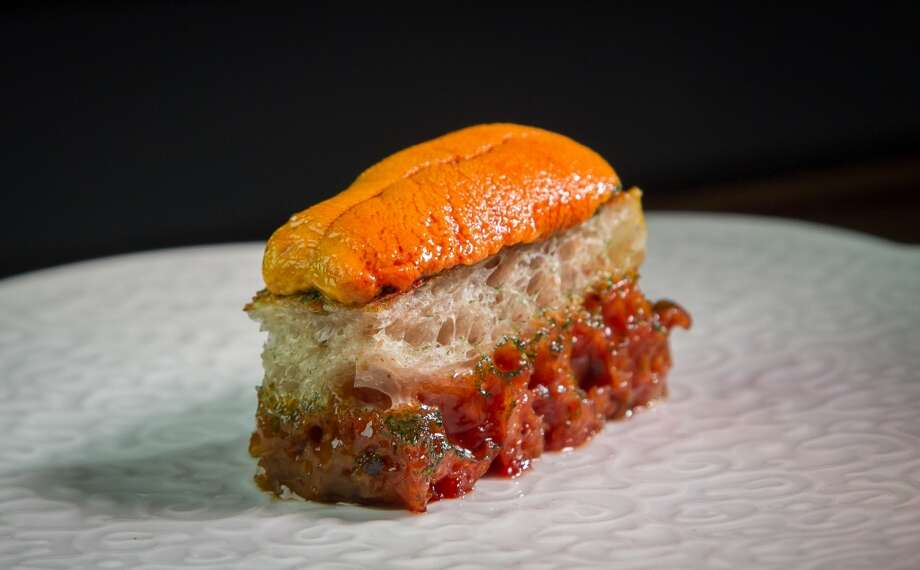 Saison: Sea urchin toast -- just one spectacular dish on the multi-course menu. Photo: John Storey, Special To The Chronicle