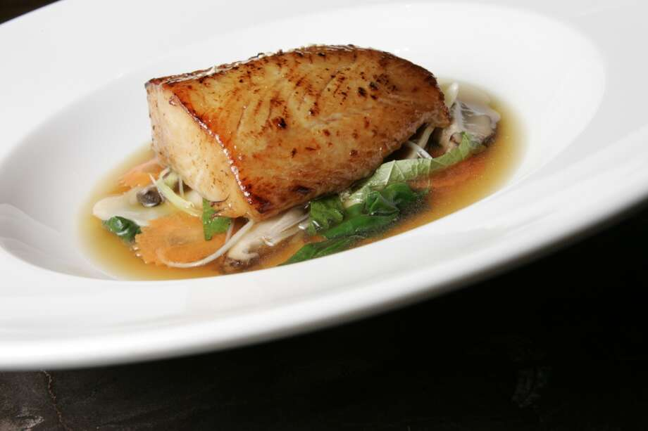 Terra, St. Helena:  Sake-marinated  black cod and shrimp dumplings in shiso broth. Photo: Michael Maloney, SFC