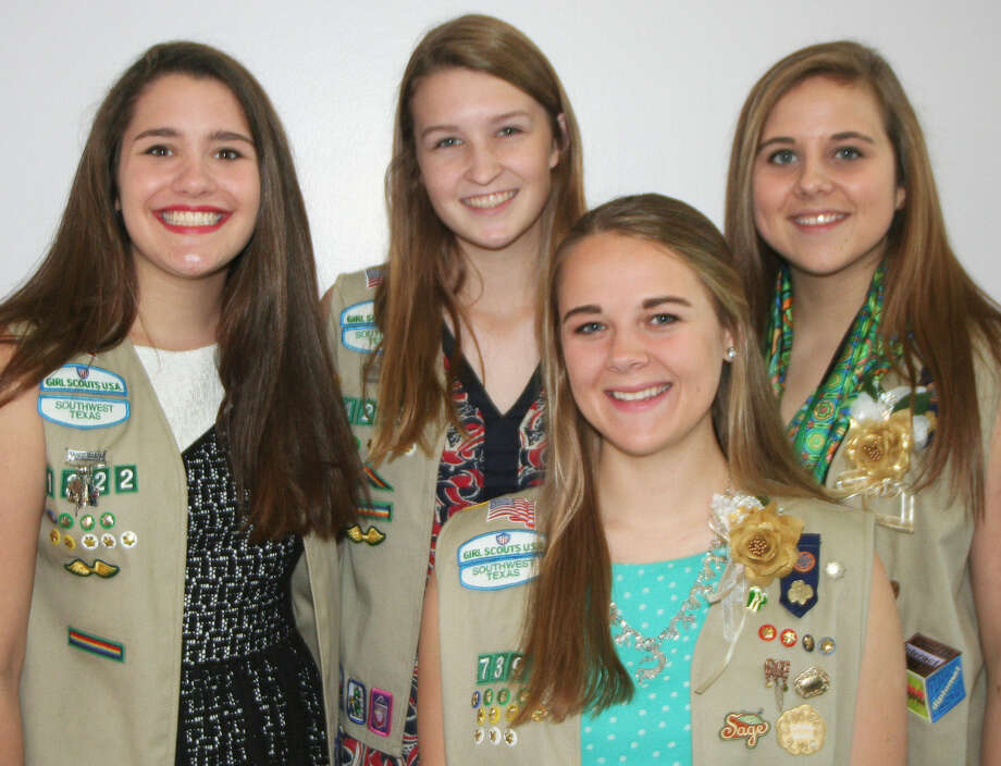 Katie White, from left, Hannah Schaeffer, Kathleen Weigel and Jane Emma Barnett were four of nine Alamo Heights-area Girl Scouts who received the Girl Scout Gold Award at a May 18 ceremony at St. Philip's College Photo: Courtesy Photo