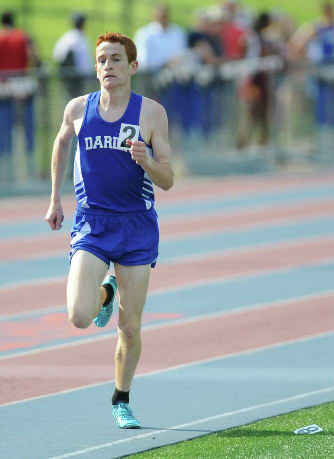 Alex Ostberg, of Darien, competes in the boys 1600 meter run at the FCIAC track and field championships at Danbury High School on Tuesday, May 27. Photo: Tyler Sizemore / The News-Times