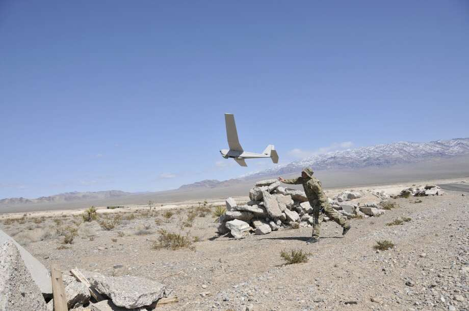 The Puma AE (All Environment) is a drone capable of landing in  water or on land. BP and drone-maker AeroVironment will use the Puma AE to survey BP pipelines, roads and equipment nearly Alaska's Prudhoe Bay after winning the first-ever FAA approval for such use. Photo: Courtesy AeroVironment, Inc