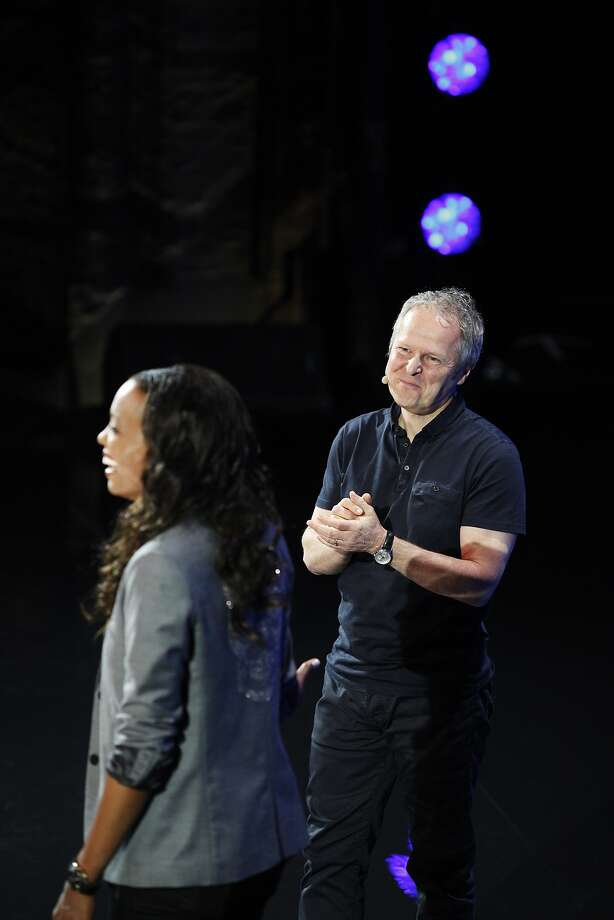 CEO Yves Guillemot of Ubisoft stands onstage with Aisha Tyler at a E3 video game conference event held at the Orpheum Theater June 9, 2014 in Los Angeles, California.. The annual video game conference and show runs June 10-12.  Photo: Dan R. Krauss, Getty Images