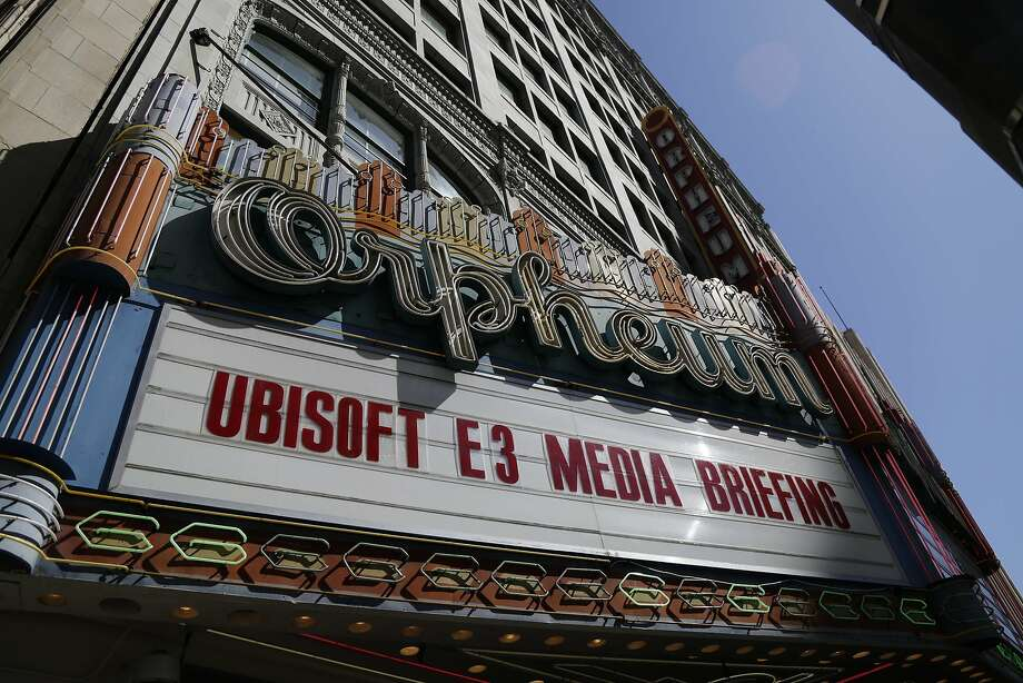 The Orpheum Theatre marquis advertises the Ubisoft media briefing at an E3 video game converence event June 9, 2014 in Los Angeles, California. The annual video game conference and show runs June 10-12.  Photo: Dan R. Krauss, Getty Images