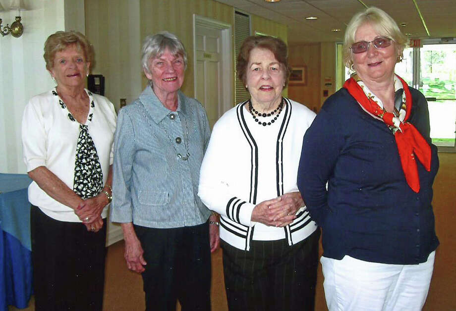 "New Suburbanites officers were inducted at the annual spring luncheon. From left, Ann Tracey, president and treasurer; Lois Gels, vice president; Bobby Cronin, recording secretary; and Doris Garnett, ""Insight"" editor. Photo: Contributed Photo, Contributed / New Canaan News Contributed"